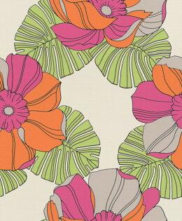 南國風大花紋女生房彩色龜背竹紋篷萊蕉紋rasch(德國壁紙)2019804911