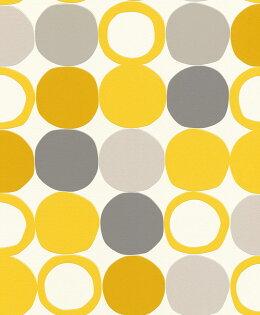 北歐風圓點紋黃色客廳房復古風rasch(德國壁紙)2019805116