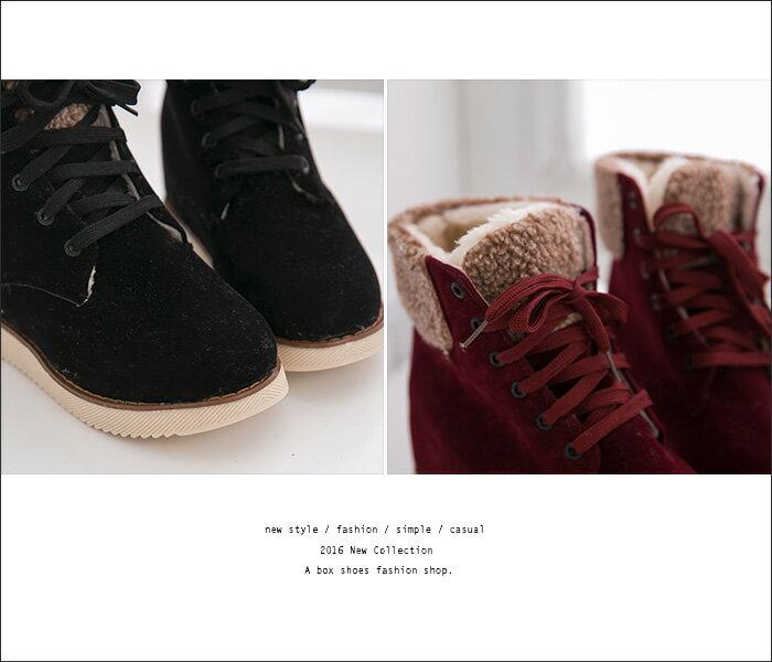 格子舖*【AA659】嚴選韓版 柔軟保暖內裡絨毛 4CM內增高綁帶短筒靴 短靴雪靴 雪地靴 2色 2
