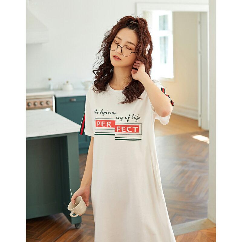 白色甜美短袖中長裙居家服- 純棉睡裙可外穿 M-XL【漫時光】(G073)  ▶99購物節 優惠碼:2009CP50 5