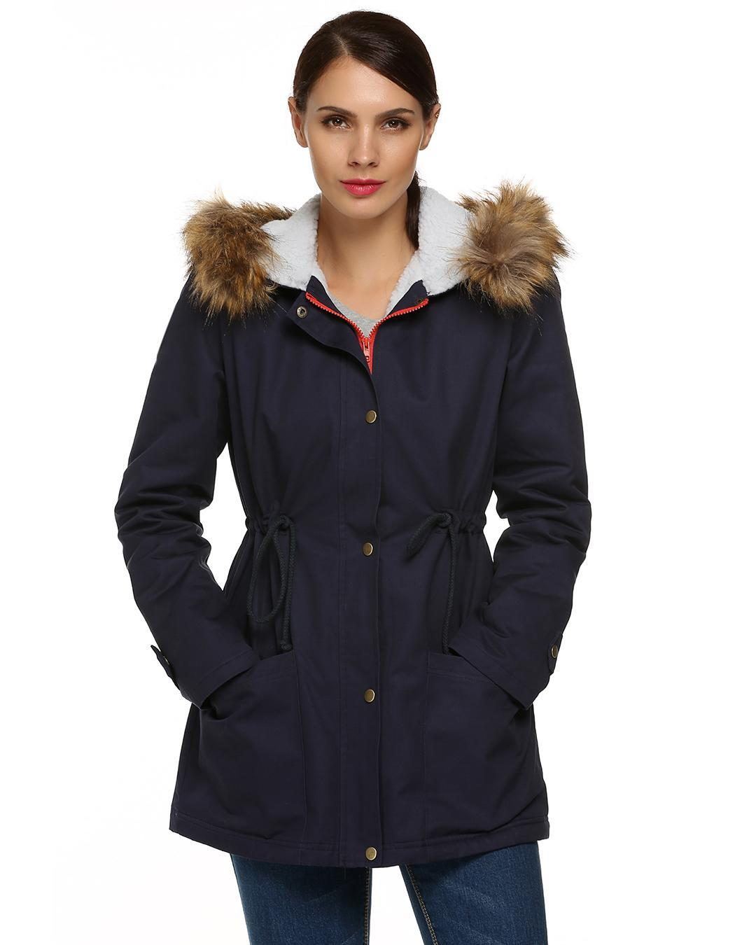 Women Zipper Hooded Warm Faux Fur Long Coat Outwear 1