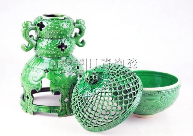 景德鎮瓷器 鏤空陶瓷香爐 熏香爐 瓷器 檀香爐 墨綠 香道用品