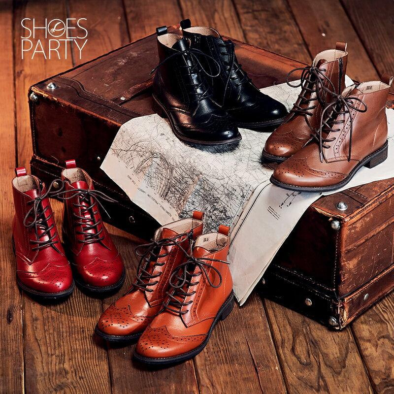 【B2-16819L】真皮綁帶牛津短筒靴_Shoes Party 1