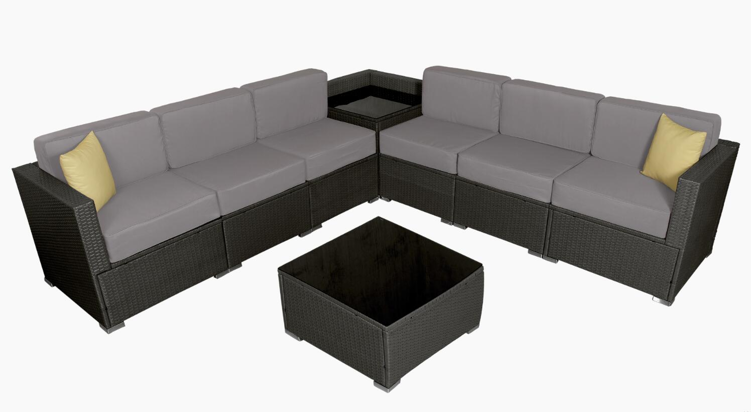Mcombo 6082 8pc Ger Size Outdoor Furniture Luxury Patio With Black Wicker And Grey Cushion Cover