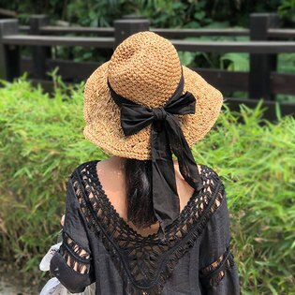 深色草帽黑緞帶絲帶蝴蝶結蕾花大帽沿韓ANNAS.