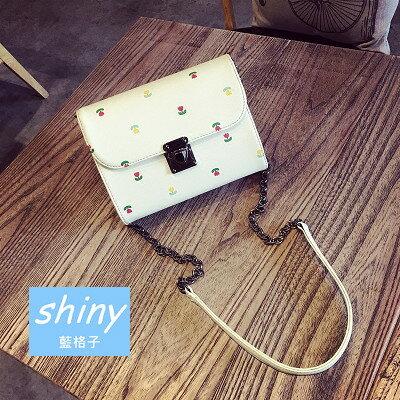【P118】shiny藍格子-甜美方包‧印花紋迷你鎖扣鏈條斜跨單肩小方包