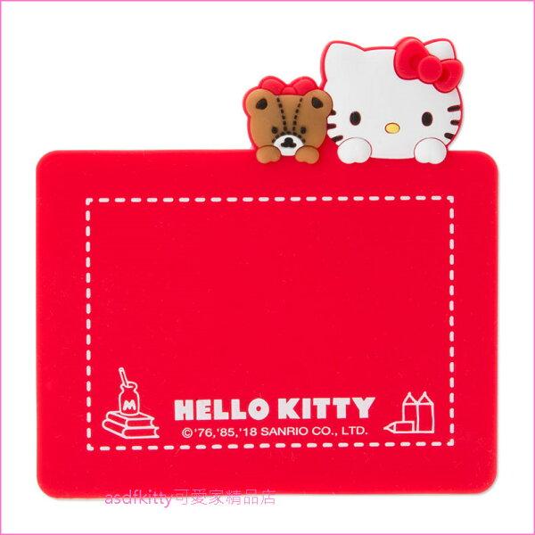 asdfkitty可愛家☆KITTY泰迪熊紅色印章墊蓋章專用軟墊-大小章都適用-日本正版商品
