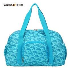【CARANY】時尚折疊手提旅行袋/購物袋/收納包/運動袋(扇之舞湖水藍58-0045)【威奇包仔通】