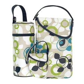 【淘氣寶寶】JJCole奶嘴袋+奶瓶保溫+外出尿布收納3件旅行組(圈圈葉子)