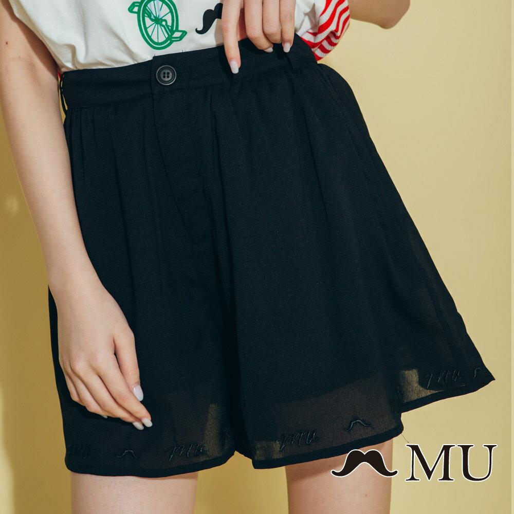 【MU】素面擺百搭低調刺繡短褲裙(2色)8325163 2
