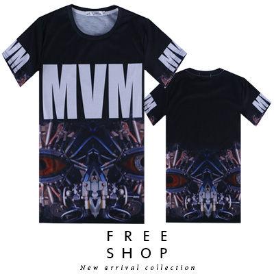 Free Shop~QFSLY3306~日韓美式滿版字母MVM機械人臉印花黑底圓領棉質短T