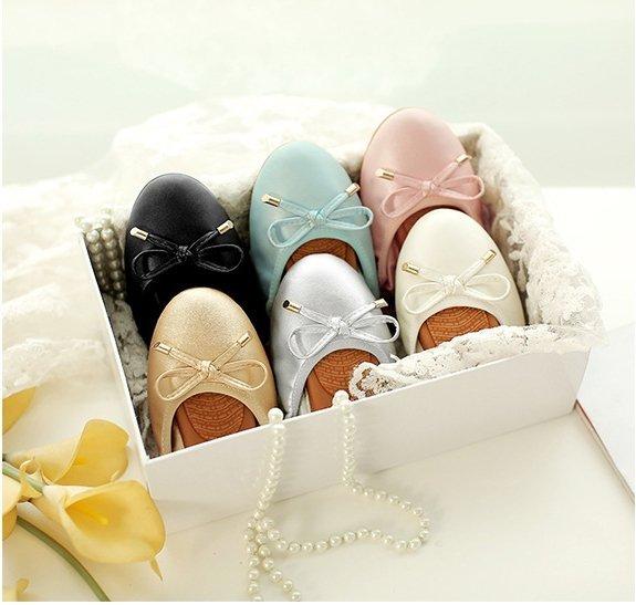 Pyf♥甜美蝴蝶結圓頭軟底蛋捲鞋素面工作鞋孕婦鞋平底鞋45大尺碼女鞋