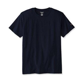 美國百分百【Champion】冠軍 T恤 短袖 T-shirt logo 素T 高磅數 深藍 S-XL號 I203