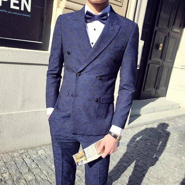 FINDSENSEH1男士婚宴單扣經典複古紳士禮服修身套裝西服馬甲西褲三件套套裝