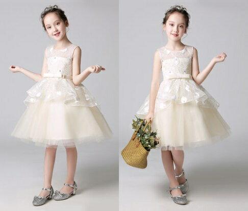 天使嫁衣【童L0238】香檳色無袖層次感收腰花童小禮服˙預購訂製款