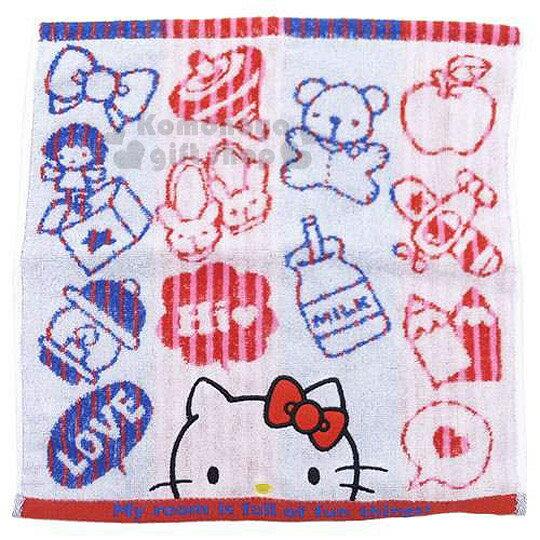 〔小禮堂〕Hello Kitty 棉紗方形毛巾《紅藍條紋.白底.大臉.牛奶罐.小皮球》34x36cm