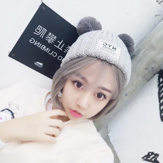 50%OFF SHOP【E021285WH】韓國可愛NYC貼布針織帽毛球球耳朵加厚保暖帽子女冬季加絨毛線帽