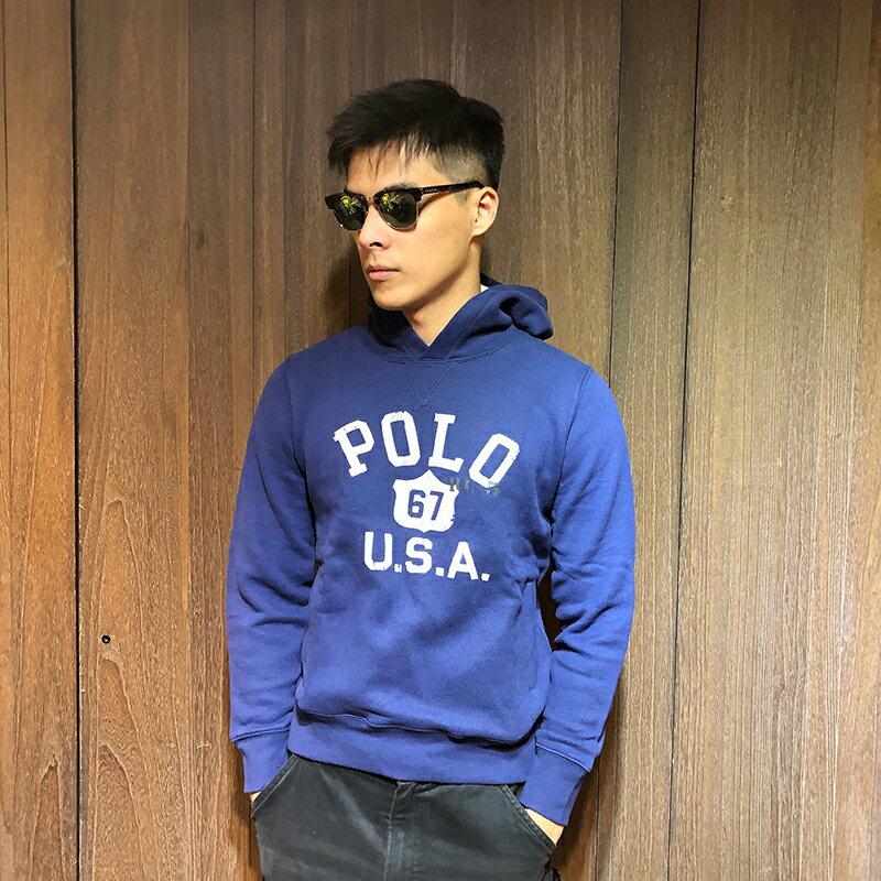美國百分百【全新真品】Ralph Lauren RL 連帽 帽T T恤 長袖 POLO 國旗 深藍 XS號 H954