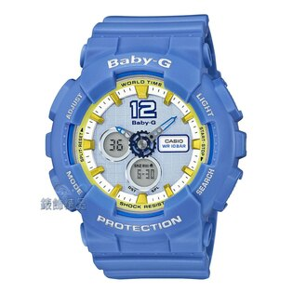 錶飾精品:【錶飾精品】現貨CASIO卡西歐Baby-G藍x黃BA-120-2BDR運動風格BA-120-2B全新原廠正品生日學生開學畢業聖誕禮物禮品