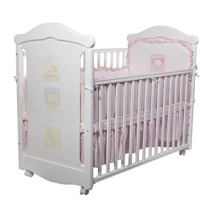 Baby City娃娃城 - 動物熊搖擺中床(白色) + 動物熊七件式被組(藍/粉) 附泡棉床墊
