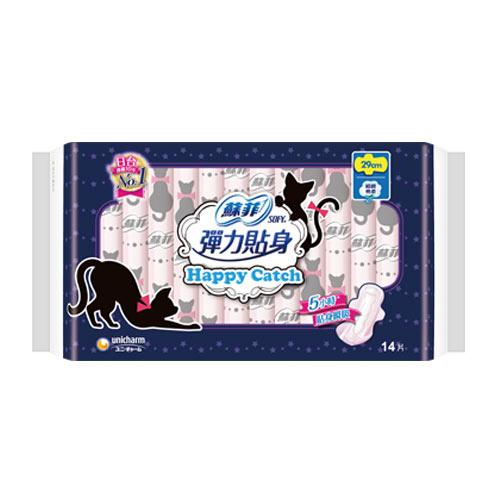 蘇菲彈力貼身happy catch夜用衛生棉29cmX14片【愛買】