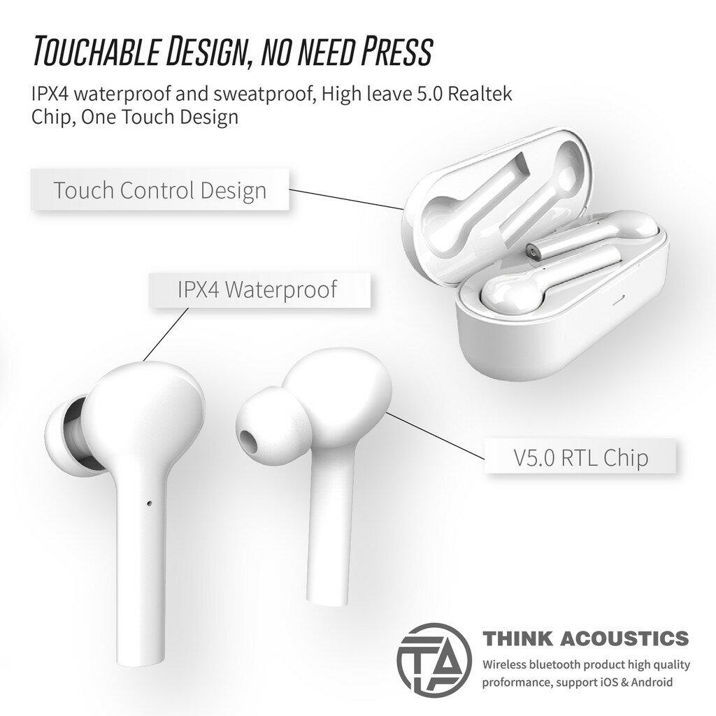 T.A特輯➤【T.A-JS】藍芽5.0無線耳機(天使白) 藍芽耳機 運動耳機 真無線 入耳式耳道式 防潑水 商務運動通勤