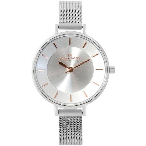 MaxMaxMAS7015-3迷人簡約米蘭帶腕錶-銀32mm