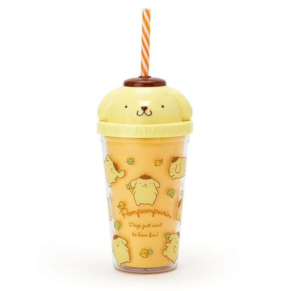 X射線【C147597】布丁狗Pompompurin大臉杯蓋造型塑膠水壺300ml,水杯馬克杯杯瓶茶具湯杯玻璃杯不鏽鋼杯