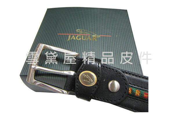 ~雪黛屋~JAGUAR休閒皮帶英國休閒針釦式100%進口牛皮革中性款耐磨耐用百搭最大40吋腰圍適用JGS628760