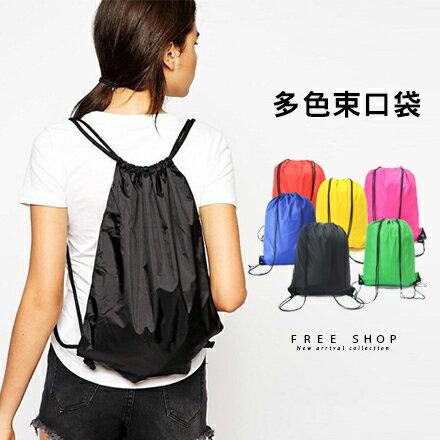 Free Shop 抽繩雙肩後背包束口袋 牛津布料 逛街背包潮流多色款~QAASM7069