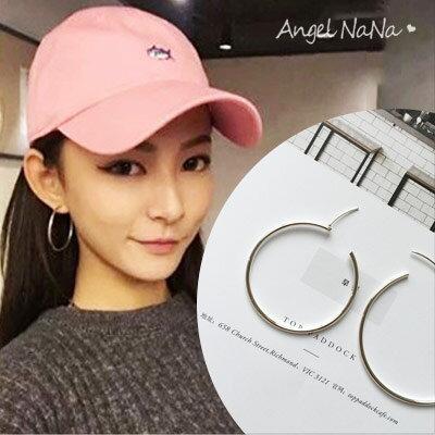 AngelNaNa:銀針耳環。簡約925銀針鍍銀大圈圈耳釘耳針3cm.4cm.5cm【RA0043】