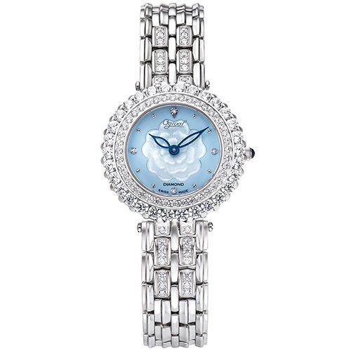 Ogival愛其華 山茶花系列 愛戀綻花 真鑽 時尚腕錶 氣質銀 藍貝殼面--305-33DLW--30mm