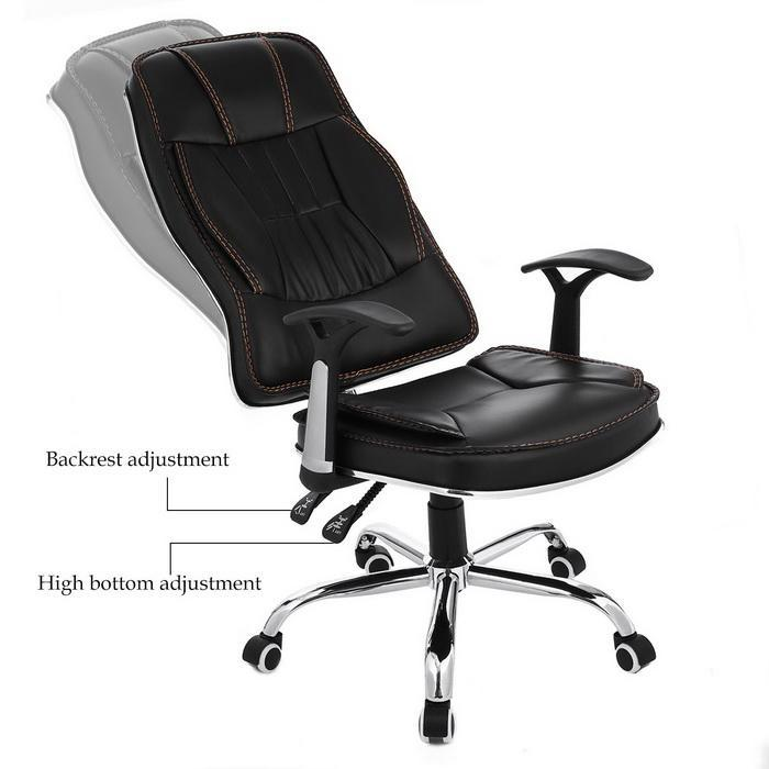 Ergonomic PU Leather High Back Office Chair with Armrests 5