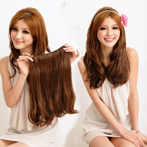 PS Mall 一片式24吋半頂五扣 梨花髮尾彎彎髮片假髮 高溫髮絲 可電棒燙【P029】