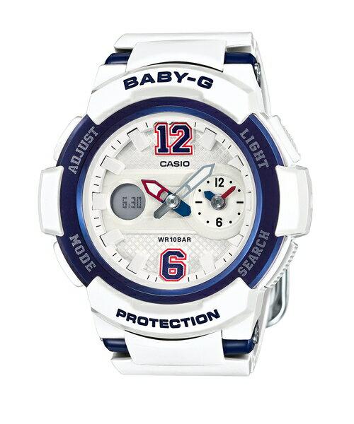 CASIO BABY-G BGA-210-7B2街頭運動雙顯流行腕錶/白色46mm