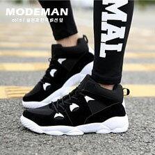 【MODE MAN】日韓造型剪裁彈力舒適綁帶運動氣墊休閒運動鞋