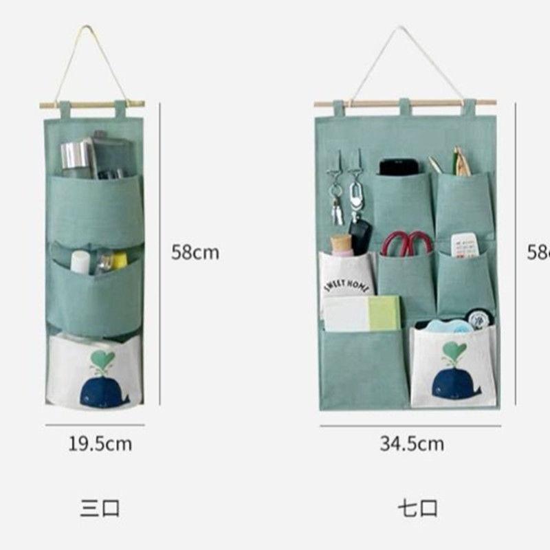 【618購物狂歡節】收納袋多層多兜掛袋門后墻上掛帶棉麻布壁掛式置物袋大號儲物袋