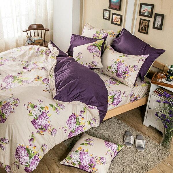 床包雙人加大-100%精梳棉【繡球花語紫】含兩件枕套,花語系列,戀家小舖,台灣製