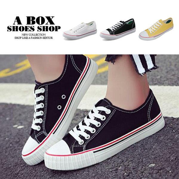 【AS805】綁帶基本款低筒休閒鞋運動鞋百搭鞋經典素色3色