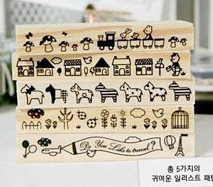 =優生活=韓國文具 透明盒裝木質印章 可愛動物 小房子 小木馬 小火車系列印章