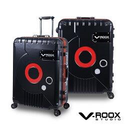 V-ROOX ZERO 28吋 時尚潮版撞色太空艙行李箱 硬殼鋁框旅行箱-霧面黑