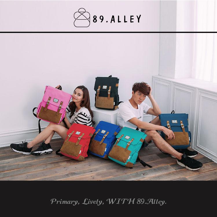 後背包 女包男包 獨家品牌加厚尼龍配質感麂皮 學院風熱銷情侶後背包 89.Alley ☀6色 6