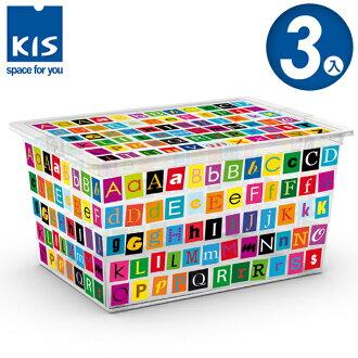 E&J【012006-06】義大利 KIS C BOX 字母系列收納箱 XL(附滾輪) 3入;收納箱/收納盒/玩具收納
