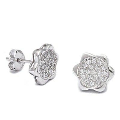 ~925純銀耳環鑲鑽耳飾~ 花朵 母親節生日情人節 女飾品73dm262~ ~~米蘭 ~