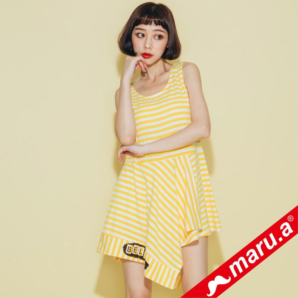 【maru.a】不規則下擺條紋上衣  8321312 0