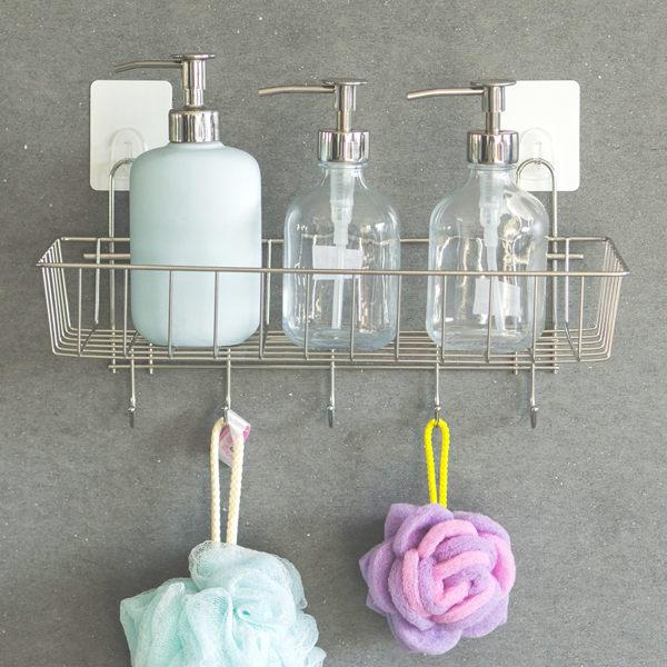 送無痕單勾-不鏽鋼多功能一層架附掛勾 MIT台灣製 完美主義 浴室置物架 置物架 廚房收納【E0017】