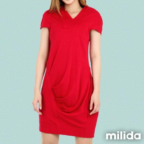 【Milida,全店七折免運】-春夏商品-V領款-修身氣質洋裝 6