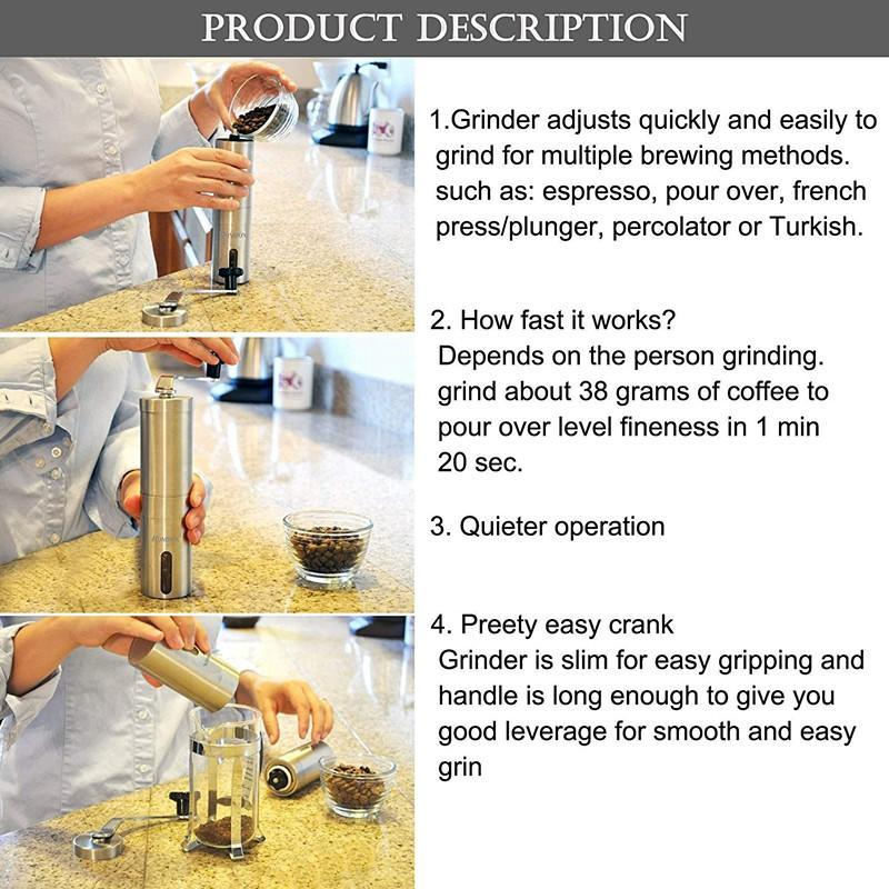 Stainless Steel Coffee Grinder with Adjustable Ceramic Conical Burr 4