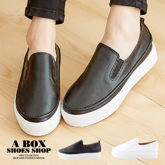 【AA3501】3.5CM厚底包鞋 套腳懶人鞋 休閒鞋 小白鞋 皮革柔軟乳膠鞋墊 MIT台灣製 2色