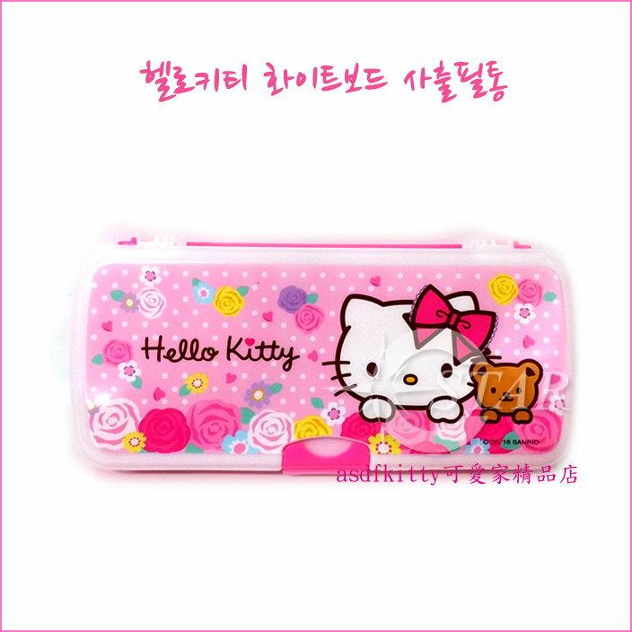 asdfkitty可愛家☆KITTY玫瑰硬盒雙面鉛筆盒-含小白板跟白板筆.小板擦-韓國製